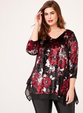 Tunique en velours asymétrique à motif fleurs, Rouge, hi-res