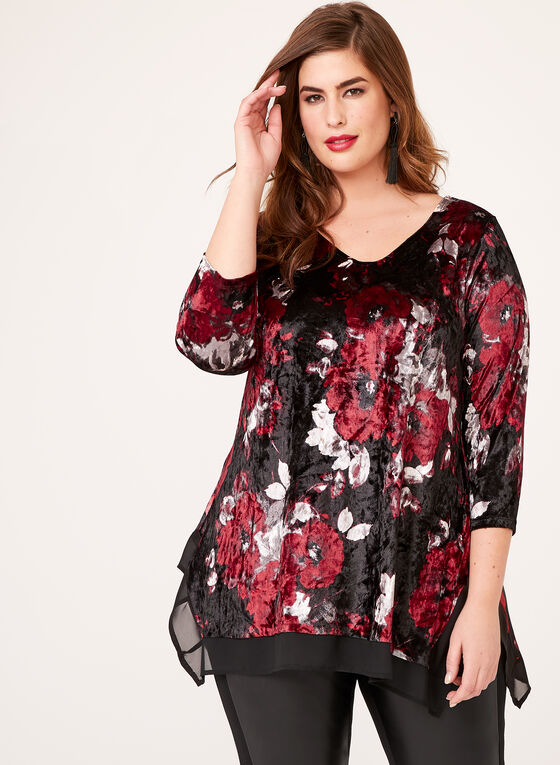 Shark Bite Hem Velvet Tunic, Red, hi-res