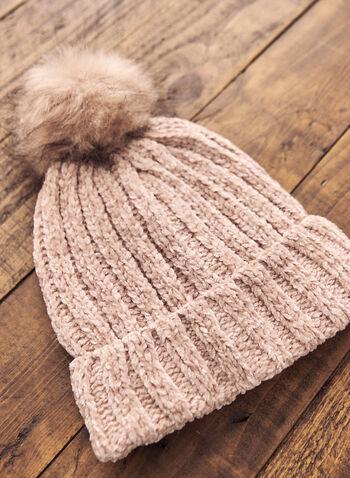 Pompom Detail Hat, Pink,  hat, pompom, chenille, fleece, faux fur, fall winter 2020