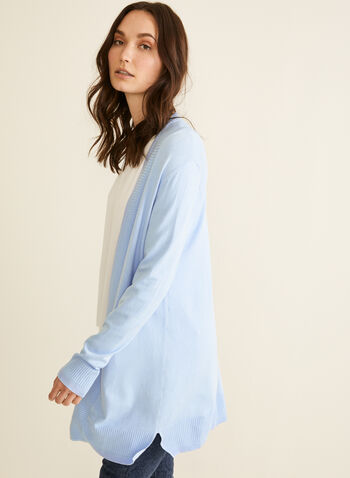 Open Front Knit Cardigan, Blue,  cardigan, open front, long sleeve, ribbed knit, spring summer 2020