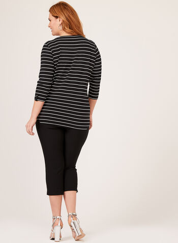 Stripe Pattern Top, Black, hi-res