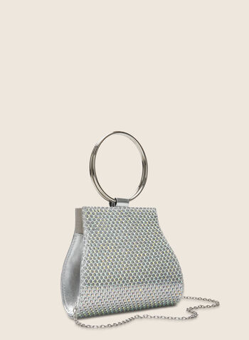 Ring Handle Evening Bag, Silver,  clutch, bag, ring, silver, metallic, crystals, spring summer 2020