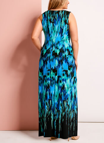 Abstract Print Medallion Trim Maxi Dress, , hi-res