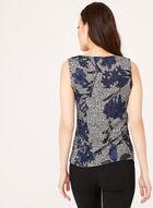 Haut sans manches tricoté à motif fleurs, Bleu, hi-res