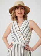 Emma & Michele - Stripe Print Linen Dress, Brown