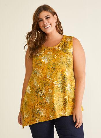 Floral Print Asymmetric Top, Yellow,  top, asymmetric, sleeveless, floral, crepe, spring summer 2020