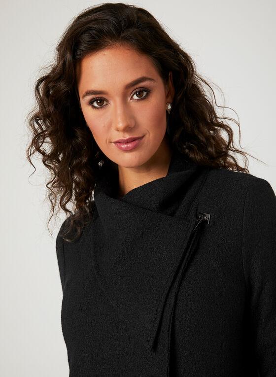 Manteau aymétrique en laine , Noir, hi-res