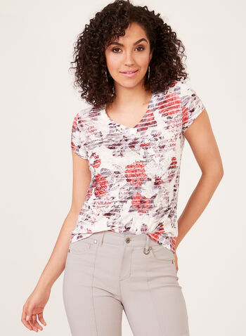 Floral Leaf Print T-Shirt, Red, hi-res