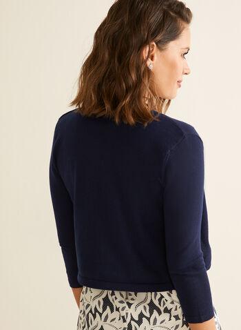 Open Front Bolero , Blue,  bolero, open front, 3/4 sleeves, scallop, spring 2020, summer 2020