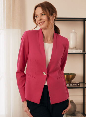 Single-Button Crepe Blazer, Pink,  blazer, crepe, single button, lined, shoulder pads, long sleeves, spring summer 2021