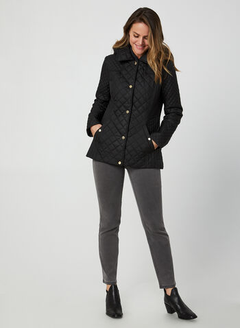 Anne Klein - Diamond Quilted Coat, Black,  fall winter 2019, Anne Klein, quilted, gold details