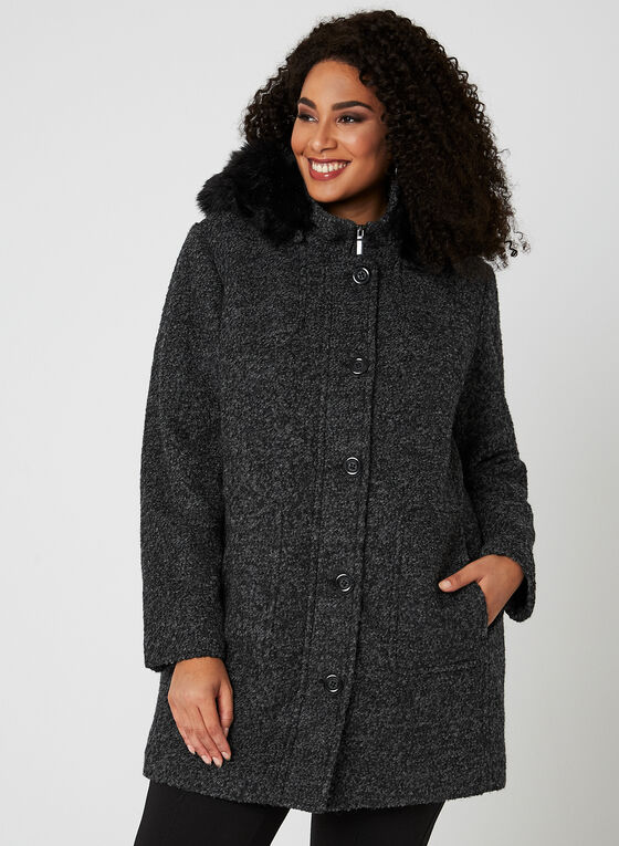 Bouclé Wool Coat, Grey, hi-res