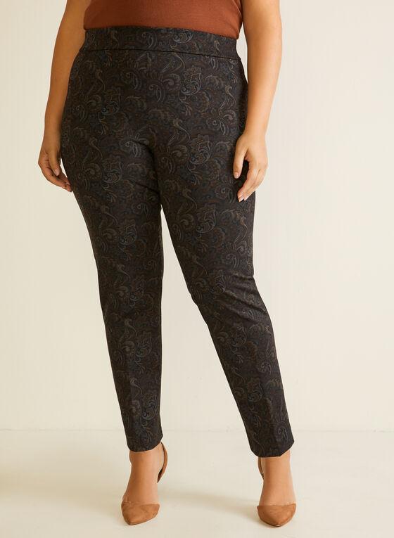Paisley Print Pull-On Pants, Black