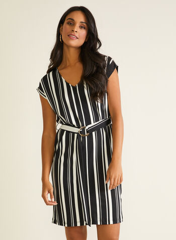 Stripe Print Belted Dress, Black,  day dress, striped, v-neck, cap sleeves, belt, buckle, crepe, spring summer 2020