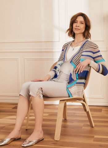 Stripe Print Open Front Cardigan, Blue,  cardigan, open front, silk, linen, stripe print, long sleeves, cascade, spring summer 2020