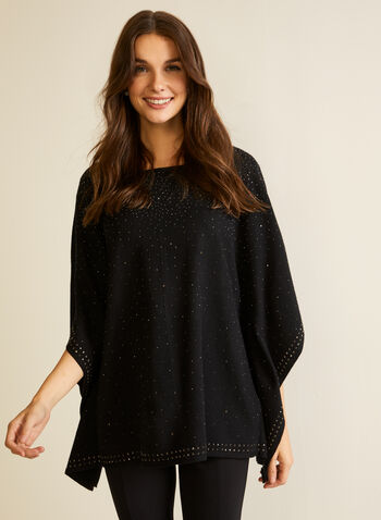 Embellished Poncho Sweater, Black,  sweater, poncho, knit, embellished, beads, studs, fall winter 2020