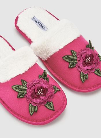 Ellen Tracy - Pantoufles à broderies florales, Rouge, hi-res