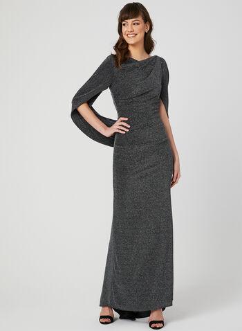 Robe drapée à fils métallisés, Noir, hi-res