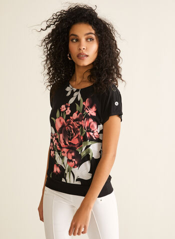 Floral Print Button Detail Top, Black,  top, cap sleeves, floral, buttons, jersey, spring summer 2020