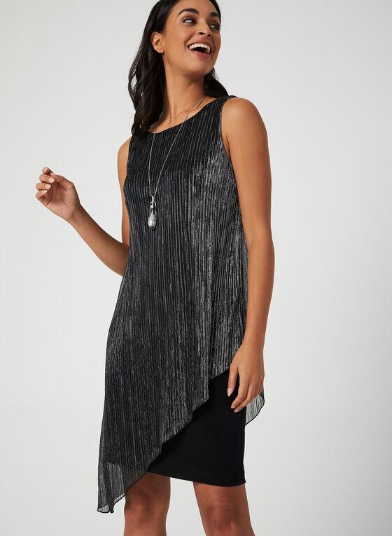 Asymmetrical Metallic Dress, Silver, hi-res