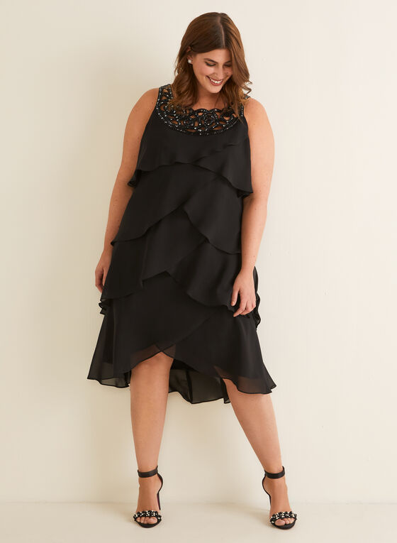 Sequin Detail Tiered Dress, Black