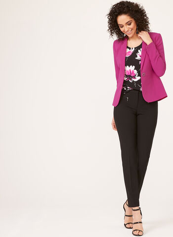 One-Button Crepe Jacket, Pink, hi-res