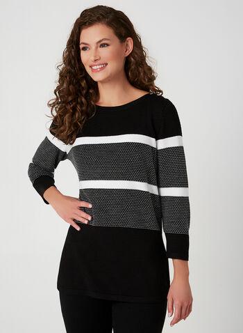 Pull à larges rayures , Noir,  tricot, manches ¾, manches 3/4, automne hiver 2019, rayé, boutons décoratifs, marinière