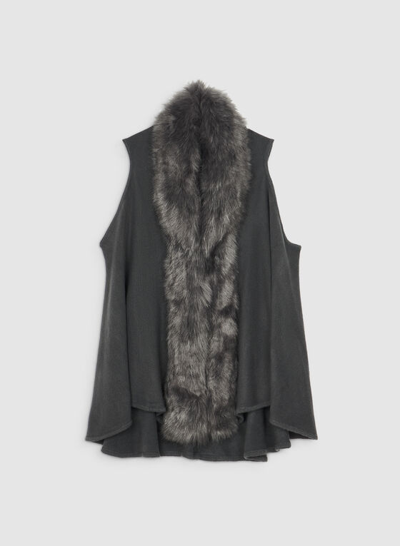 Faux Fur Knit Vest, Grey, hi-res