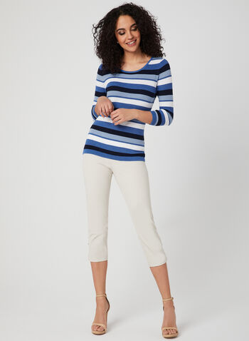 Alison Sheri - Stripe Print Knit Top, Blue, hi-res