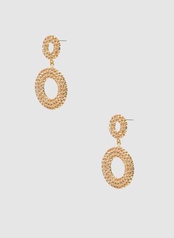 Boucles d'oreilles à anneaux en cristaux, Or, hi-res,  boucles d'oreilles, anneaux, cristaux, automne hiver 2019