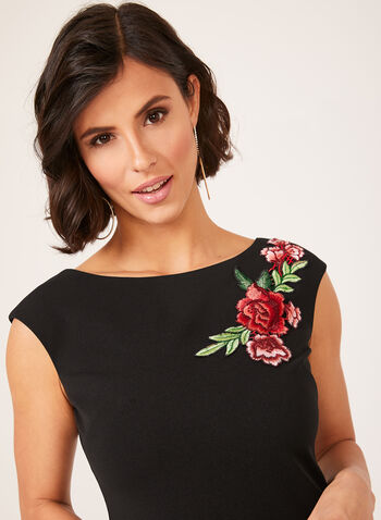 Jessica Howard - Sheath Dress With Floral Appliqué, Black, hi-res