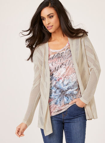 Open Front Cardigan , Grey, hi-res