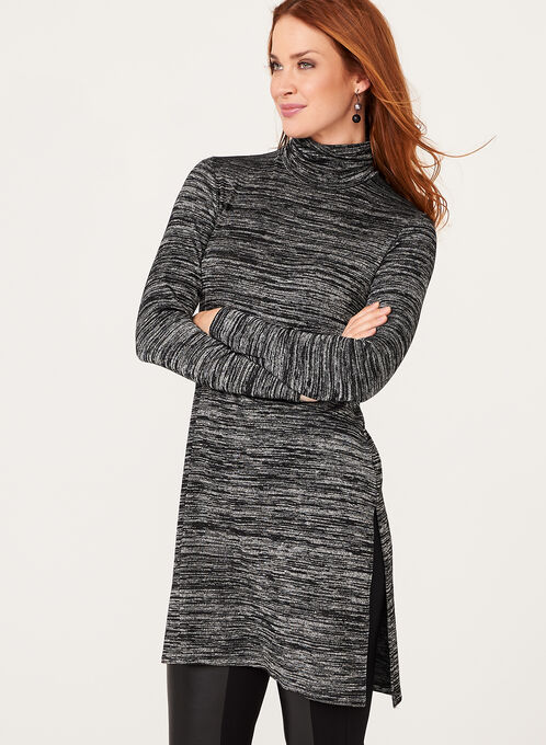 Long Sleeve Turtle Neck Tunic , Grey, hi-res