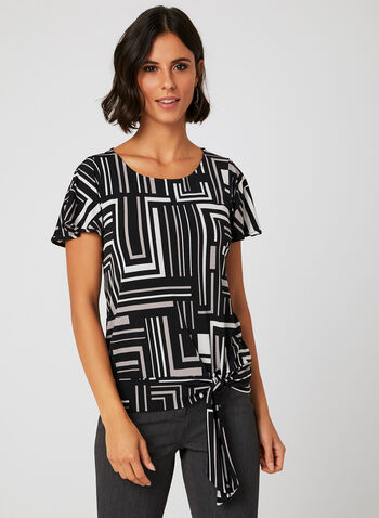 Geo Print Jersey Top, Grey, hi-res