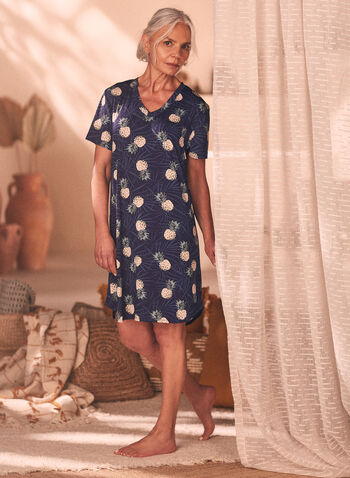 Printed V-Neck Nightgown, Blue,  Spring Summer 2021, sleepwear, pyjama, night dress, night shirt, striped, print, v neck, printed, pineapple, motif, abstract, comfort