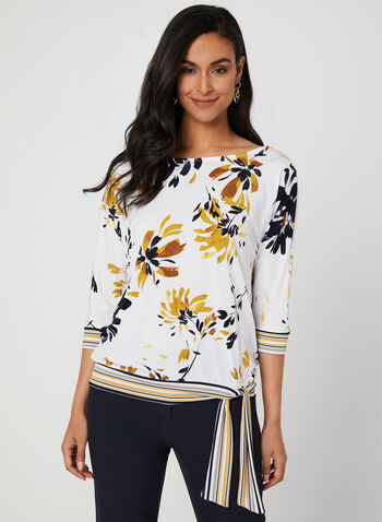 Floral Print Jersey Top, White, hi-res,  Canada, top, 3/4 sleeves, dolman sleeves, floral print, jersey, fall 2019, winter 2019