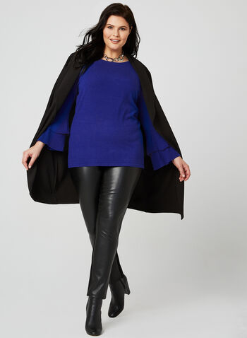 Layered Bell Sleeve Sweater, Blue, hi-res