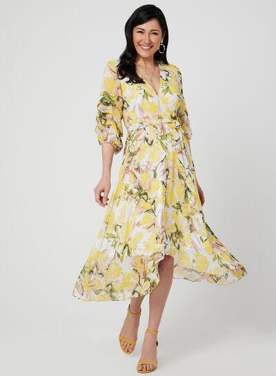 Floral Print ¾ Sleeve Dress