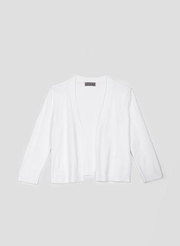 Boléro en tricot à manches ¾, Blanc, hi-res