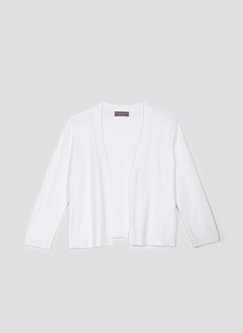 Open Front Knit Bolero, White, hi-res