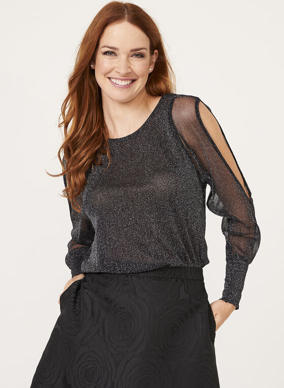 Ness - Metallic Mesh Cold Shoulder Top , Black, hi-res