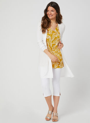 Leaf Print Sleeveless Top, Yellow, hi-res