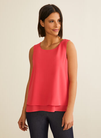 Sleeveless Crepe Blouse, Red,  blouse, sleeveless, crepe, layered, spring 2020