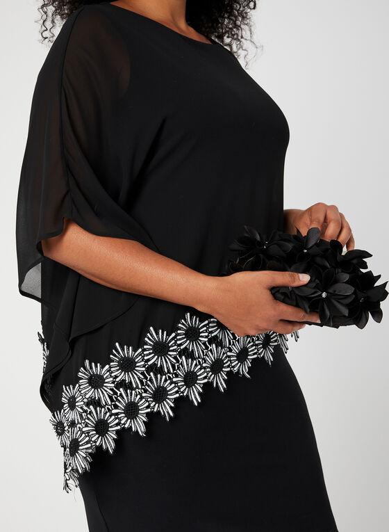 Joseph Ribkoff - Robe poncho à bordure florale, Noir, hi-res