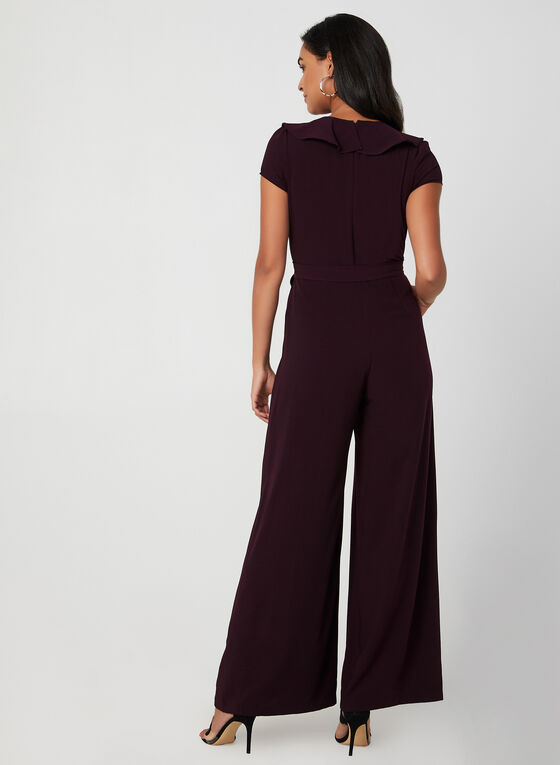 Ruffle Trim Jumpsuit, Red
