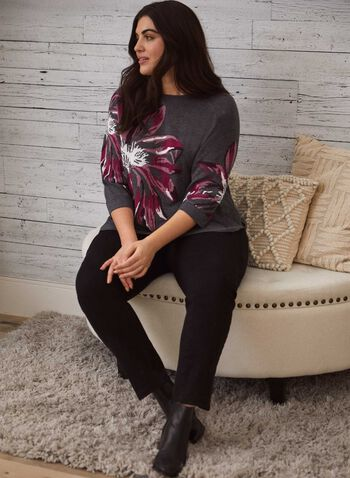 Knit Sweater With Floral Print, Grey,  fall winter 2020, sweater, sweater, 3/4 sleeves, pattern, floral, round neck, holiday, flower