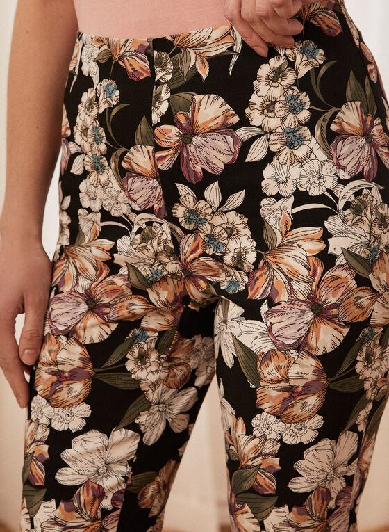 Floral Print Pull-On Capris , Black