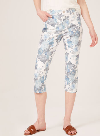 Simon Chang – Floral Print Denim Capri Pants, White, hi-res