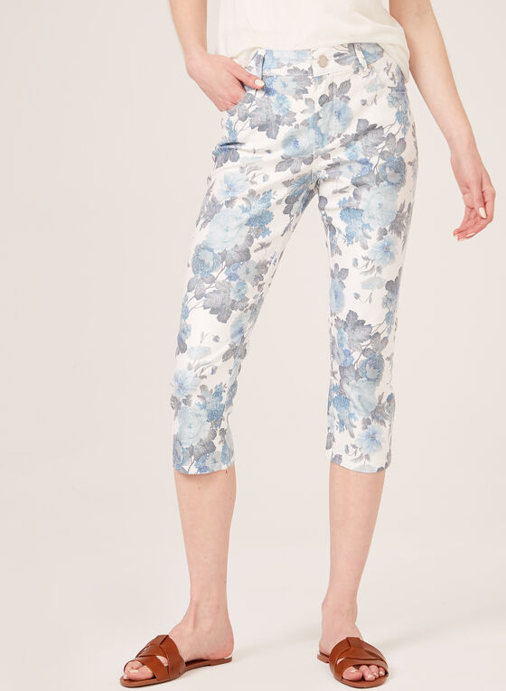Simon Chang - Capri floral en denim, Blanc, hi-res