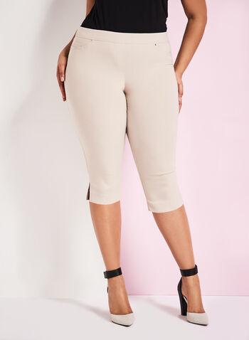 Modern Fit Bengaline Capri Pants, Grey, hi-res